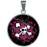 Girly Skull & Crossbones 30mm Round Necklace