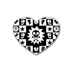 Gothic Punk Skull Rubber Heart Coaster (4 pack)