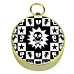 Gothic Punk Skull Gold Compass