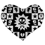 Gothic Punk Skull Large 19  Premium Flano Heart Shape Cushion