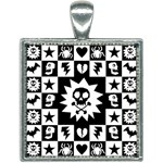 Gothic Punk Skull Square Necklace