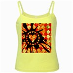 Love Heart Splatter Yellow Spaghetti Tank
