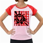 Love Heart Splatter Women s Cap Sleeve T-Shirt