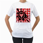 Love Heart Splatter Women s T-Shirt (White) (Two Sided)