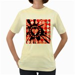 Love Heart Splatter Women s Yellow T-Shirt