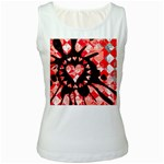 Love Heart Splatter Women s White Tank Top