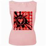 Love Heart Splatter Women s Pink Tank Top