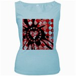 Love Heart Splatter Women s Baby Blue Tank Top