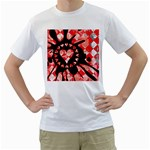 Love Heart Splatter Men s T-Shirt (White) (Two Sided)