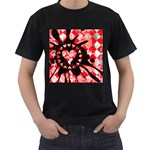 Love Heart Splatter Men s T-Shirt (Black)