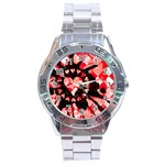 Love Heart Splatter Stainless Steel Analogue Watch