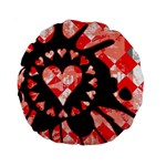 Love Heart Splatter Standard 15  Premium Round Cushion