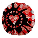 Love Heart Splatter Large 18  Premium Round Cushion