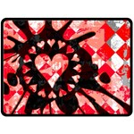 Love Heart Splatter Double Sided Fleece Blanket (Large)