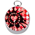 Love Heart Splatter Silver Compass