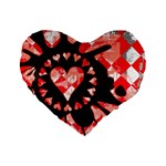 Love Heart Splatter Standard 16  Premium Flano Heart Shape Cushion