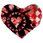 Love Heart Splatter Large 19  Premium Flano Heart Shape Cushion