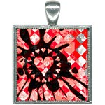 Love Heart Splatter Square Necklace