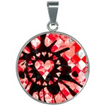 Love Heart Splatter 30mm Round Necklace