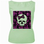 Pink Polka Dot Bow Skull Women s Green Tank Top from ArtsNow.com Front