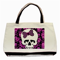 Pink Polka Dot Bow Skull Basic Tote Bag from ArtsNow.com Front