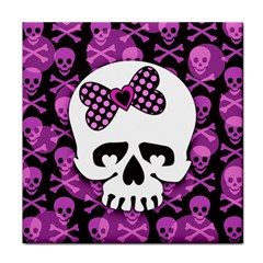 Pink Polka Dot Bow Skull Face Towel from ArtsNow.com Front