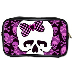 Pink Polka Dot Bow Skull Toiletries Bag (One Side) from ArtsNow.com Front