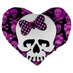Pink Polka Dot Bow Skull Large 19  Premium Heart Shape Cushion from ArtsNow.com Front