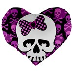 Pink Polka Dot Bow Skull Large 19  Premium Heart Shape Cushion from ArtsNow.com Back