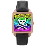 Rainbow Skull Rose Gold Leather Watch