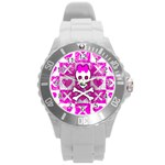 Skull Princess Round Plastic Sport Watch (L)