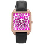 Skull Princess Rose Gold Leather Watch