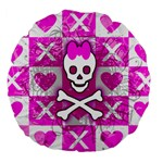 Skull Princess Large 18  Premium Flano Round Cushion