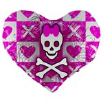 Skull Princess Large 19  Premium Flano Heart Shape Cushion