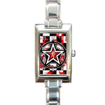 Star Checkerboard Splatter Rectangle Italian Charm Watch