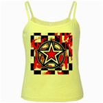 Star Checkerboard Splatter Yellow Spaghetti Tank