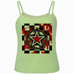 Star Checkerboard Splatter Green Spaghetti Tank