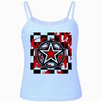 Star Checkerboard Splatter Baby Blue Spaghetti Tank