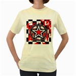 Star Checkerboard Splatter Women s Yellow T-Shirt