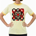 Star Checkerboard Splatter Women s Fitted Ringer T-Shirt