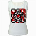 Star Checkerboard Splatter Women s White Tank Top