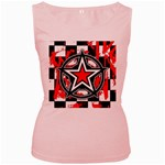 Star Checkerboard Splatter Women s Pink Tank Top