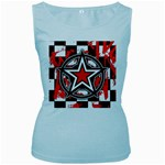 Star Checkerboard Splatter Women s Baby Blue Tank Top