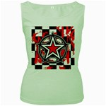 Star Checkerboard Splatter Women s Green Tank Top