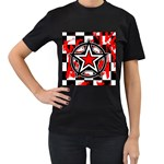 Star Checkerboard Splatter Women s T-Shirt (Black) (Two Sided)