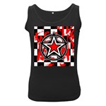 Star Checkerboard Splatter Women s Black Tank Top