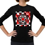 Star Checkerboard Splatter Women s Long Sleeve Dark T-Shirt