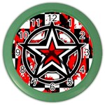 Star Checkerboard Splatter Color Wall Clock
