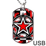 Star Checkerboard Splatter Dog Tag USB Flash (One Side)