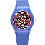 Star Checkerboard Splatter Round Plastic Sport Watch (S)